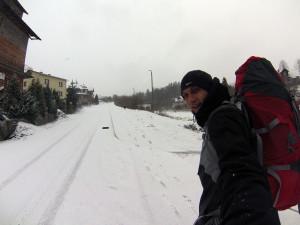 Zwardoń...zaledwie kilka cm śniegu...
