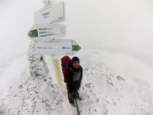 Na szczycie Pilska- szczyt znajduje się kilkaset metrów od granicy- po słowackiej stronie